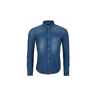 إعادة تشغيل سليم فيت قميص الدنيم الأزرق