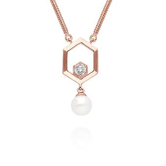 Modern Pearl & White Topaz Hexagon Drop Necklace in Rose Gold Plated Sterling Silver 270N035610925