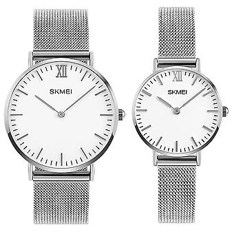 Skmei Mens And Womens Couple Set Silver Ultra Thin Classic Watch Stainless Steel Strap Clear Display SK1811RG