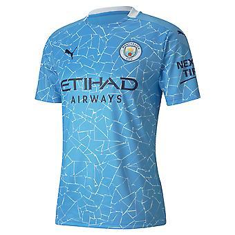 Puma Manchester City 2020/21 Mens Short Sleeve Home Calcio Camicia Blu