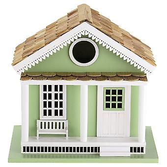 Deluxe Handcrafted Outdoor Wooden Birdhouse, Bird-Friendly Perch (Green Lake House)