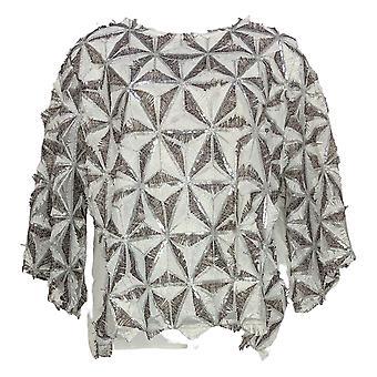 Masseys Women's Plus Top Patterned Sequin Eyelash Top White/Silver