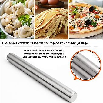 Stainless Steel Dough Roller Rolling Pin - Rolling Pin For Baking/ Bakers - The Best For Fondant Pie Crust Cookie & Dough