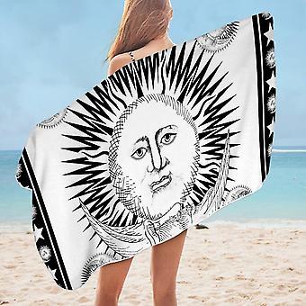 Black and White Sun and Moon Microfiber Beach Towel