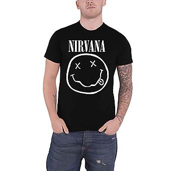 Nirvana T Shirt White Smiley Band Logo nevermind new Official Mens Black