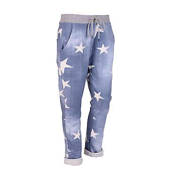 Womens Star Print Soft Slouch Trousers | Light Denim | One Size