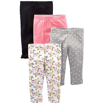 Simple Joys by Carter's Baby Girls' 4-Pack Pant, Navy, Gray Dot, Pink, Floral...