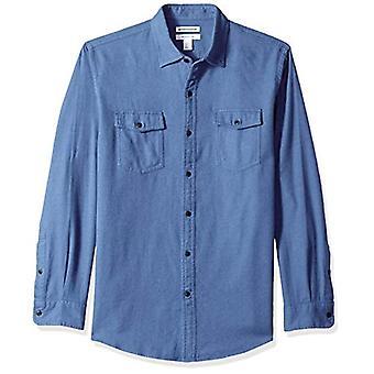Essentials men's regular-fit camisa de franela sólida de manga larga, azul...