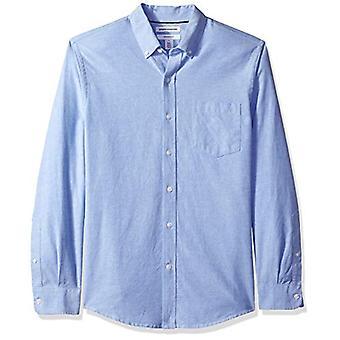 Essentials Hombres's Slim-Fit camisa Oxford de bolsillo sólido de manga larga, azul,...