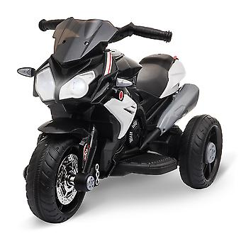 HOMCOM Kids 6V Electric Ride On Motorcycle Vehicle w/ Lights Music Horn 3 Wheel Outdoor Play Toy for 3 - 6 Years Black