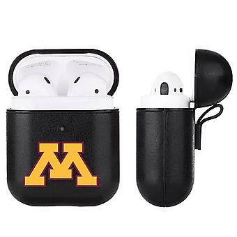 Minnesota Golden Gophers NCAA Fan Brander Zwart Lederen AirPod Case