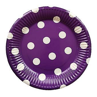 10PCS 7-inch Dot Party Paper Tray Purple White Circle
