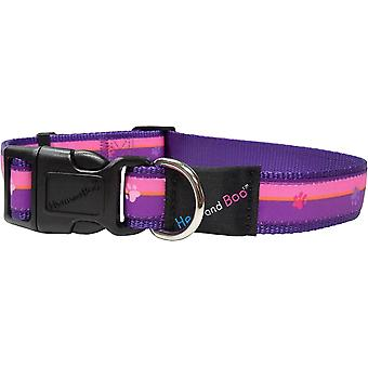 Hem & Boo Nylon Adjustable Collar Paws & Stripes Pink - 19mm x 35-46cm