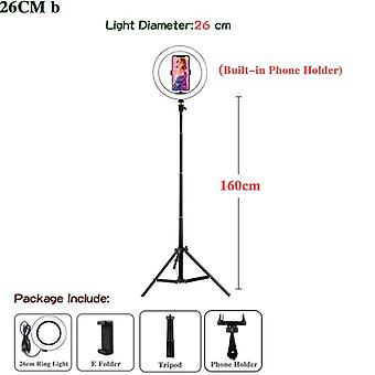Dimmable Led Ring Light With Tripods Stand Phone Holder Desk