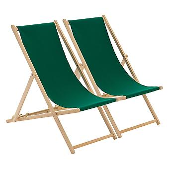 Traditional Adjustable Garden / Beach-style Deck Chair - Green - Pack of 2