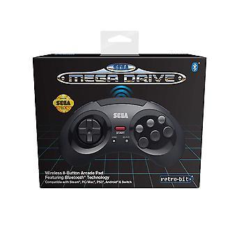 Retro-Bit Official SEGA MegaDrive Wireless Controller with Bluetooth (Black)