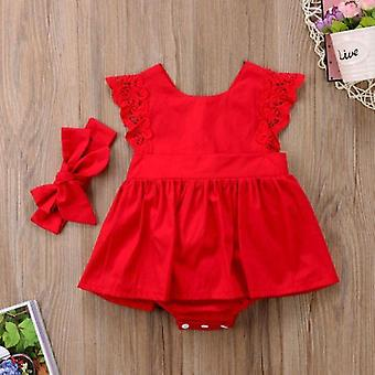 New Christmas Ruffle Red Lace Romper Dress, Baby Girls Princess Xmas Party