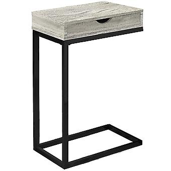 """10.25"""" x 15.75"""" x 24.5"""" Grey Finish Drawer and Black Metal Accent Table"""
