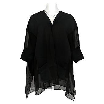 WynneLayers Women's Sweater Knit Topper With Chiffon Detail Black 682-660