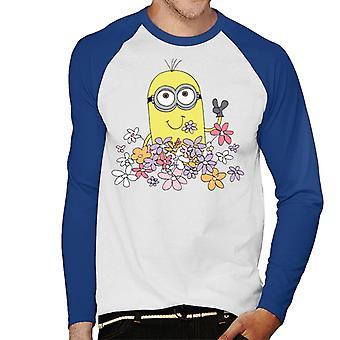 Despicable Me Minion Enjoying Flowers Men's Baseball Long Sleeved T-Shirt