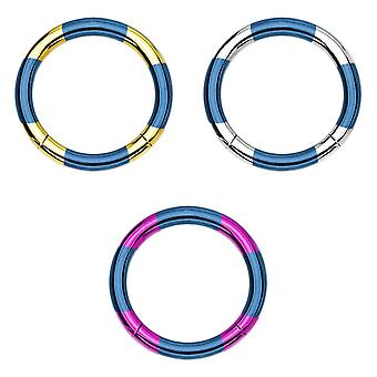3-Pack cartilage nose lip seamless piercing hoops - anodized titanium 316l steel