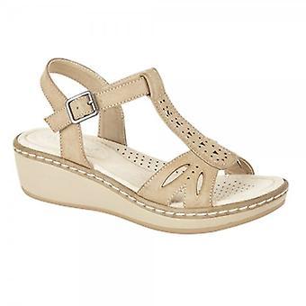 Boulevard Priya Ladies Halter Back Wedge Heel Shoes Beige