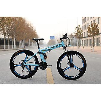 Folding Mountain Bike Speed Double Disc Brakes Bicycle 6 Knife Wheel And 3