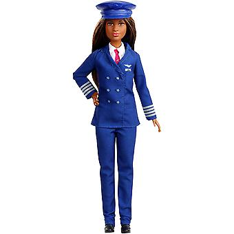Barbie gfx25 career 60th doll, i can be a pilot, with pilot's hat, brunette