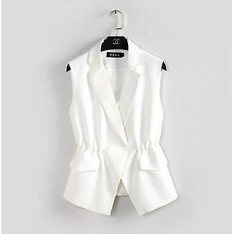 Women Suit Vest Short Style Elastic Waist Slim Elegant Office Big Size Female