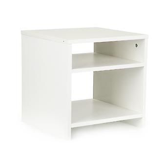 Stolik nocny biały - 2 półki - szafka boczna -