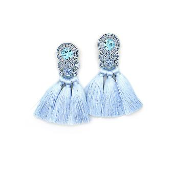 Fringe Tassel Earrings With Crystals
