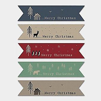East of India BROWN KRAFT Ribbon Style Flag Christmas stickers (22)
