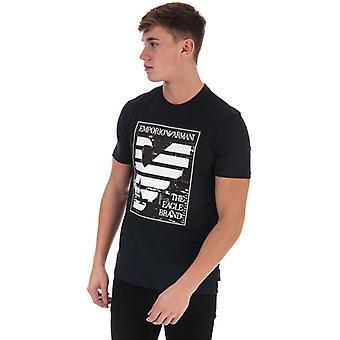 Men's Armani Panel Eagle Camiseta en Azul