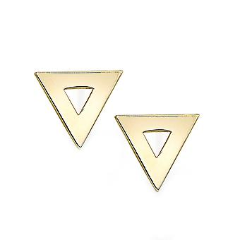 14k Yellow Gold Triangle Shape Stud Earrings