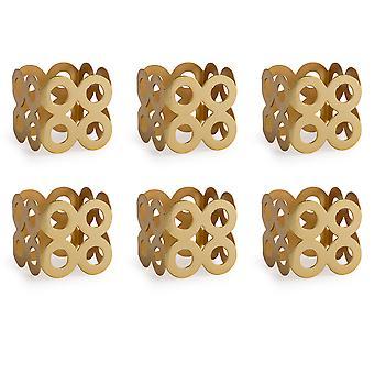 Dii Gold Square Die Cut Napkin Ring (Set Of 6)