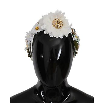 Yellow white sunflower crystal floral headband