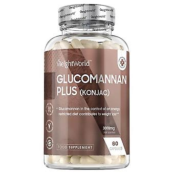 Glucomannan Supplement - 3000mg Pure Glucomannan Appetite Suppressant For Weight Management, B6 For Boosting Metabolism, Vegan-Friendly - 60 Capsules