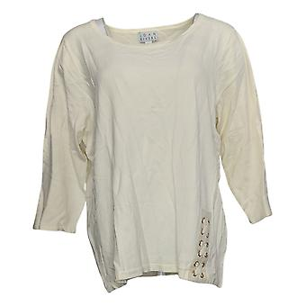 Joan Rivers Women's Sweater Scoop Neck Lace Up Detail White A309778