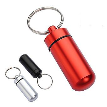 2 pcs Aluminium Pill Box Case Bottle Holder Container Keychain