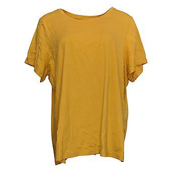 LOGO By Lori Goldstein Women's Top Plus Knit Short Sleeves Yellow A342991