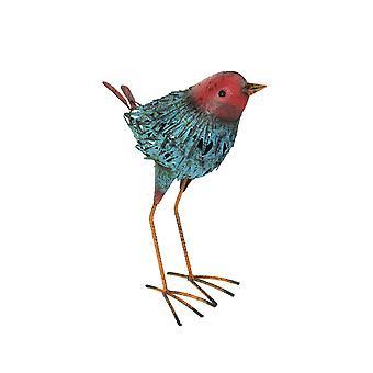 Hand Painted Blue and Red Metal Indoor/Outdoor Shore Bird Sculpture
