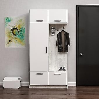 Entrada muebles Rion Color blanco en Melamine Truciolare, MDF, L93xP30xA188 cm