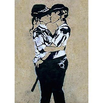 Malerei Inspirationen Autor Bansky PoliceWoman bunten Kuss aus Holz, Baumwolle, L70xP100xA3 cm