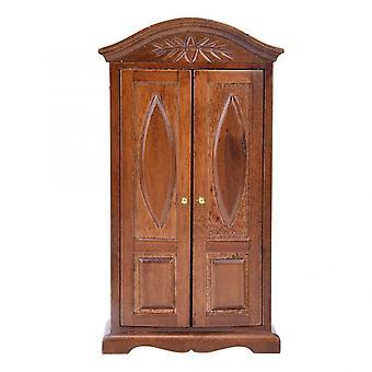 مصغرة خشبية بيت الدمى الأثاث خمر خشبية مزدوجة الباب خزانة خزانة