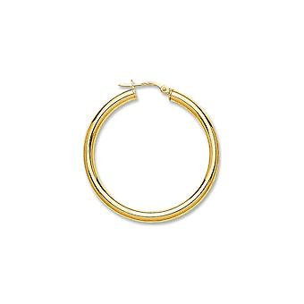 Eternity 9ct Or 35mm Boucles d'oreilles creole rondes hoop