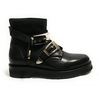 Yox Biker Ankle Boot Nicola Barbato Stretch Leather With Women's Black Buckles D19nb02