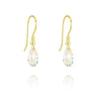 24K kulta swarovski kristalli valkoinen ab kyynel korvakorut
