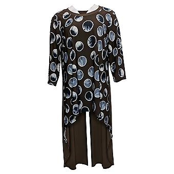 Women With Control Petite Top Jersey 3/4-Sleeves Hi-Low Tunic Brown A390196