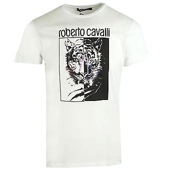 Roberto Cavalli Leopard Block Logo Valkoinen T-paita