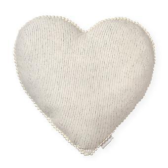 Beige Heart Tetra Cotton Decorative Pillow